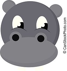 Cartoon face of the baby hippopotamus vector or color...