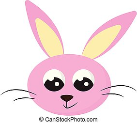 Cartoon face of the smiling pink rabbit isolated on white background viewed from the front, vector or color illustration