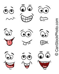 cartoon face set isolated on white background
