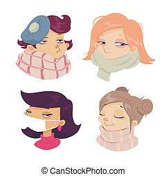 cartoon face sickness, Cold symptoms of girl