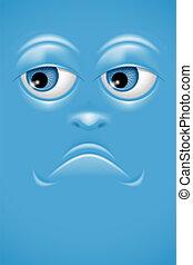 Cartoon face with sorrow emotion. Vector.