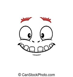 Cartoon face vector icon, funny emoji with toothy smile kind eyes and thick eyebrows. Satisfied facial expression, positive feelings isolated on white background