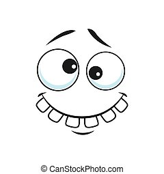 Cartoon face vector icon, funny toothy emoji with crazy smile, slanting eyes and raised eyebrows. Positive facial expression, good feelings isolated on white background