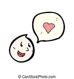 cartoon face with love heart