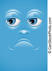 Cartoon face with sorrow emotion. Vector.