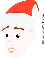Cartoon face Young Santa Claus emotions