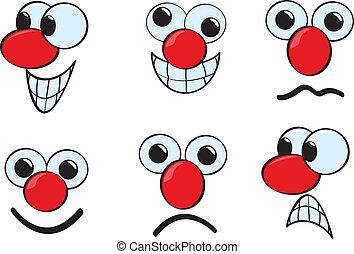 Cartoon Faces - A group of cartoon faces using various...