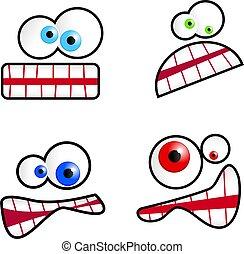 Cartoon Faces - Collection of cute cartoon emoticon faces ...