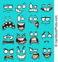 Cartoon faces - Funny cartoon faces with different...