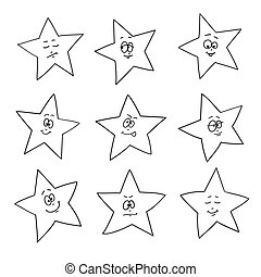 Cartoon faces emotions. Set of festive fun stars. Different hand drawing star shapes.