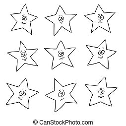 Cartoon faces expressions. Set of festive fun stars.