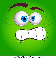 Cartoon faces. Expressive eyes and mouth, smiling, crying and surprised character face expressions. Caricature comic emotions or emoticon. Isolated vector illustration on green background