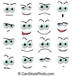 Cartoon faces - Illustration of 16 cartoon faces