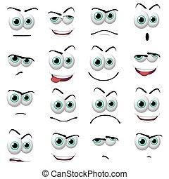 Illustration of 16 cartoon faces