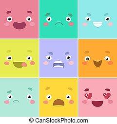 Cartoon faces.