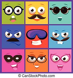 Cartoon Faces with Emotions and Mustache. Vector Illustration Set