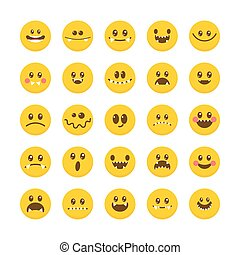 Cartoon faces with emotions. Emoticon emoji icons. Set of cute monsters. Different Halloween characters