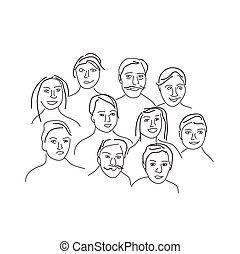 Cartoon facial expressions set
