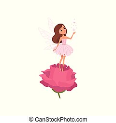 Cartoon fairy girl standing on rose and spreading magical...