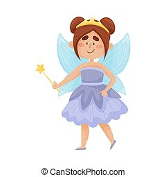 Cartoon fairy in a blue dress with a crown on her head. Vector illustration on a white background.