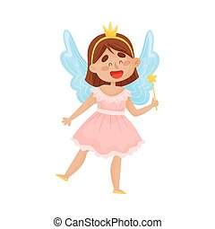 Cartoon fairy in a pink dress with a crown on her head. Vector illustration on a white background.