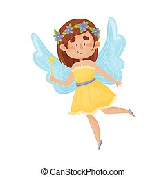 Cartoon fairy in a yellow dress with a wreath on his head. Vector illustration on a white background.