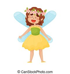 Cartoon fairy in yellow with a green dress. Vector illustration on a white background.