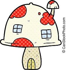 cartoon fairy mushroom house