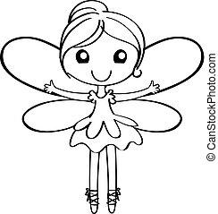 Cartoon Fairy Outline - Cartoon fairy outline