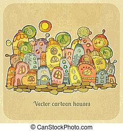 Cartoon fairy-tale spring houses.