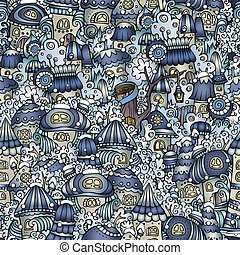 Cartoon fairy tale winter houses pattern - Cartoon vector ...