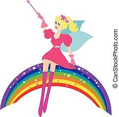 Cartoon Fairy with a magic wand sitting on the rainbow