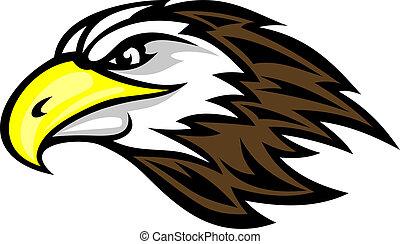 Cartoon falcon head for mascot or tattoo design