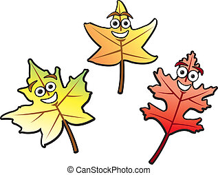 Three autumn leaves of various common types drawn in a fun cartoon style.