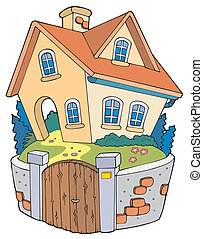 cartoon, familie, hus