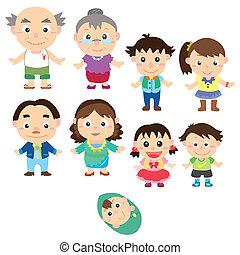 cartoon, familie, ikon