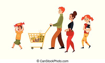 Cartoon family at supermarket with shopping cart - isolated flat vector illustration