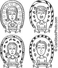 cartoon family doodle
