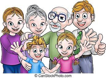 Cartoon Family - Cartoon family with parents, children and...