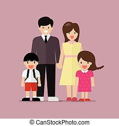 Cartoon family flat style