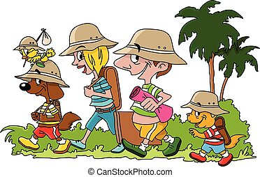 Cartoon family going on a vacation with their cat dog and bird vector illustration