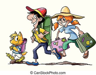 Cartoon family going on a vacation with their cat vector illustration