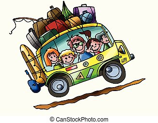Cartoon family going to summer camp with their car fully loaded vector illustration