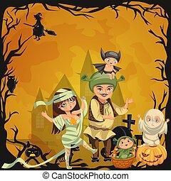 Cartoon family Halloween poster