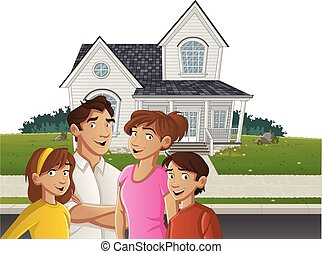 Cartoon family in front of a house