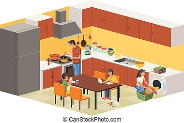 family in the kitchen.