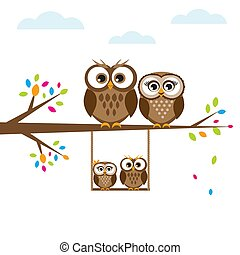 Cartoon family of owls - Cartoon family of cute brown owls...