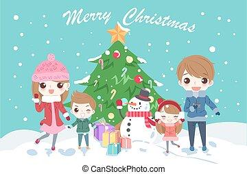 cartoon family with christmas