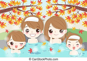 cartoon family with hot spring