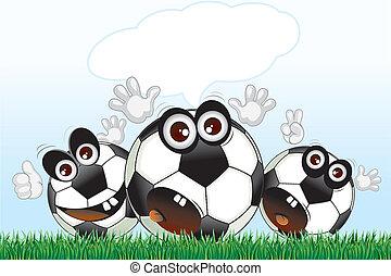 Cartoon Fans - Cartoon Soccer Fans with speech for text